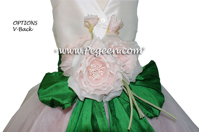 Emerald Green, Petal Pink and Ivory Flower Girl Dresses Classic Style 802