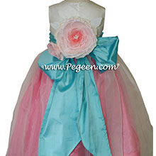 Gumdrop pink and Tiffany blue with Antique White silk Flower Girl Dresses by PEGEEN