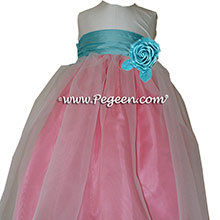 Gumdrop pink and Tiffany blue with Antique White silk Flower Girl Dresses Style 301
