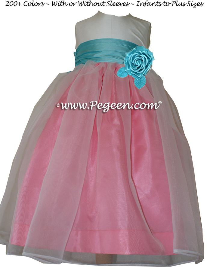 Gumdrop pink and Tiffany blue Infant flower girl dress