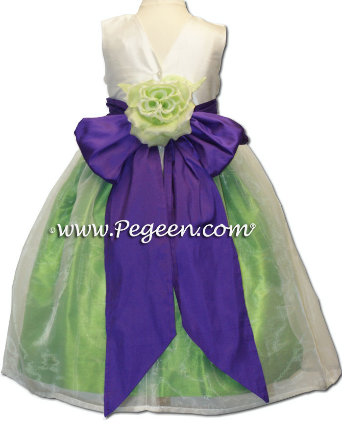 Lime green and purple silk flower girl dresses pegeen mightylinksfo