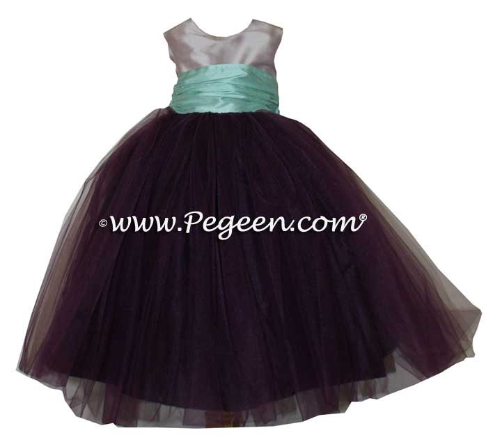 Eggplant, lavender and Aqua Silk and Tulle Flower Girl Dresses