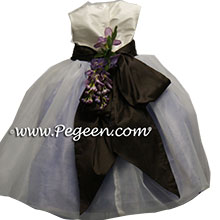 Lilac and brown infant flower girl dresses