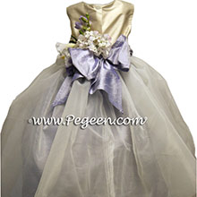 Lilac and Ivory flower girl dresses