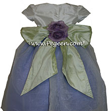 Periwinkle and Antique White Organza Flower Girl Dresses by PEGEEN