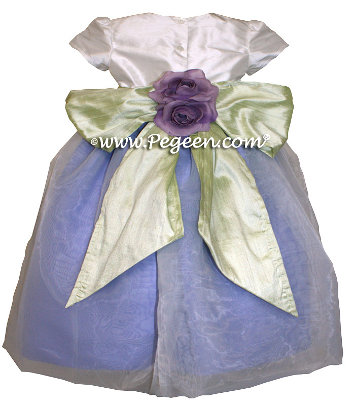 Periwinkle and Antique White Organza Flower Girl Dresses Style 802