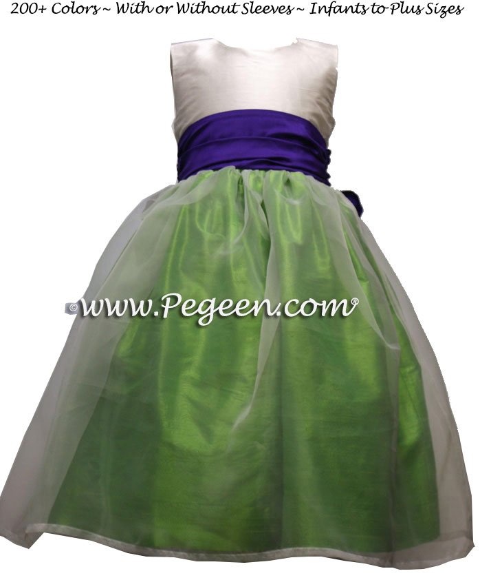 Key Lime and Purple Heart and white organza toddler flower girl dress
