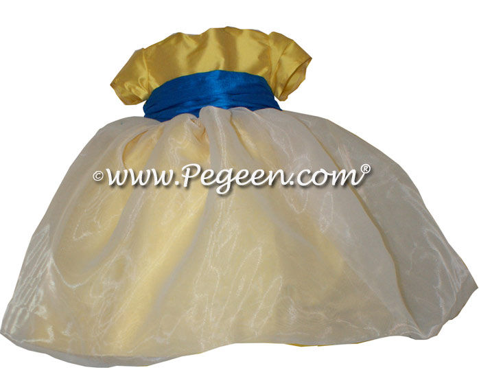Saffron Yellow and Blue Saphire and White organza custom infant flower girl dress