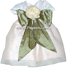 Infant style Flower Girl Dresses In Wheat and Sage Green Style 802