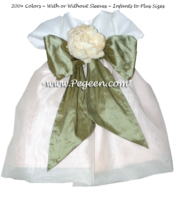 Flower girl dress in Ivory, Wheat (Light Gold) and Sage Green with organza