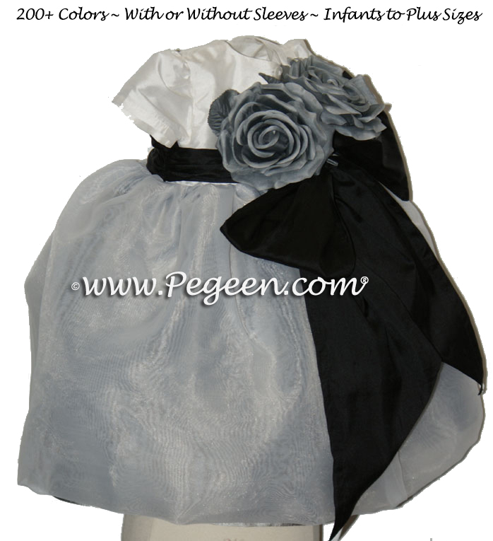 Silver Grey and Black and white organza Infant flower girl dress