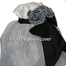 Silver grey with black infant flower girl dresses