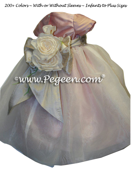 Rum Pink, Toffee and Ivory organza custom infant flower girl dress - Style 802