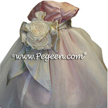 Rum pink and ivory flower girl dresses