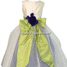 Royal Purple and New Ivory organza Infant Flower Girl Dresses