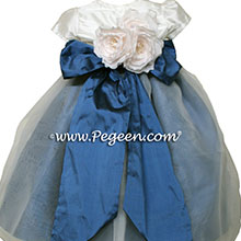 Arial Blue and New Ivory Silk and Organza flower girl dress