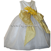 Sunflower yellow and infant flower girl dresses