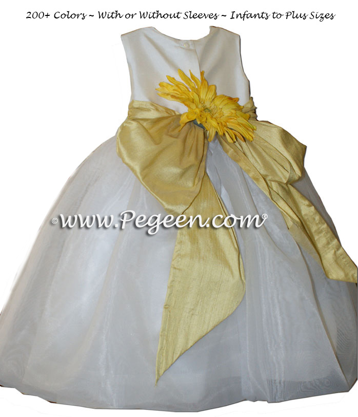 Sunflower yellow and white organza Infant flower girl dress