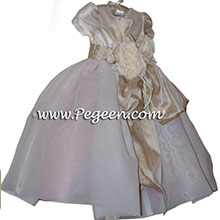 Rumpink and Toffee and Ivory Flower Girl Dresses - PEGEEN