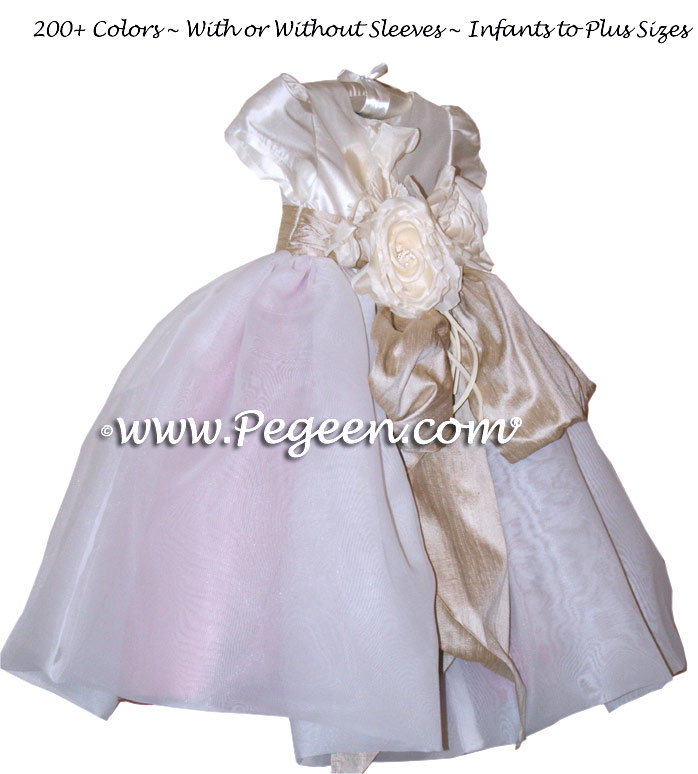 Infant Flower Girl Dresses in Woodrose Pink and Toffee, Organza | Pegeen