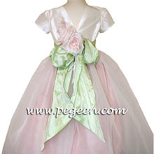 cotton candy pink, mint green and ivory silk Flower Girl Dresses