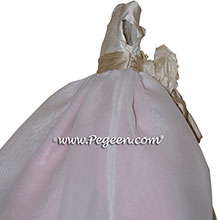 Woodrose pink, Toffee and New Ivory organza Infant Flower Girl Dresses by PEGEEN