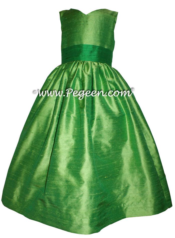 Key Lime and Shamrock Green Tinkerbell Styled flower girl dress