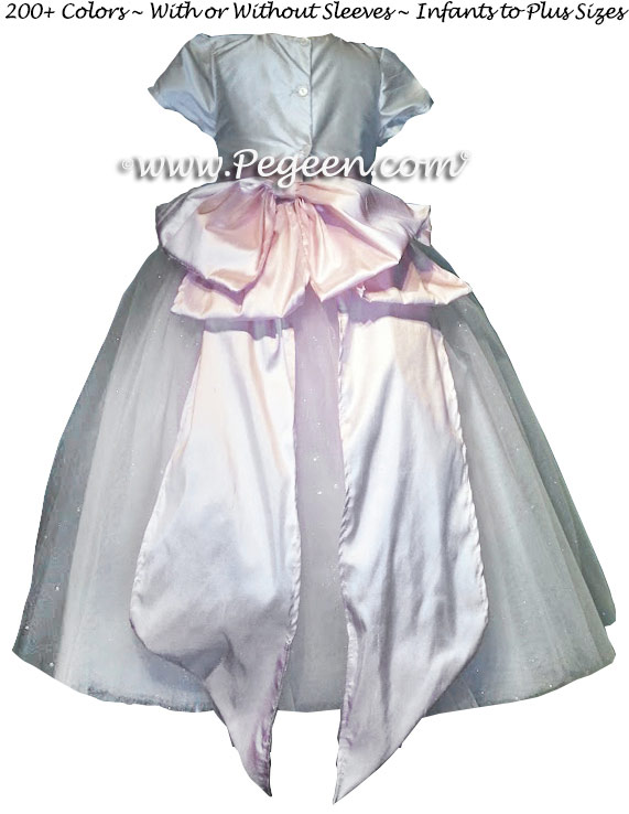 Cotillion or Couture Sapphire Sleeping Beauty Fairy Flower Girl Dress w/Tulle, pink Cinderella bow, and sparkle tulle with monogram