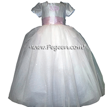 White and Peony Pink Silk - Our Sleeping Beauty Princess Flower Girl Dresses