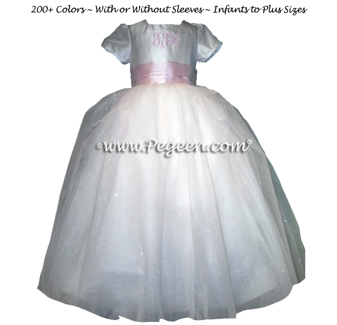 White and Peony Pink Silk - Our Sapphire Princess Flower Girl Dresses Stye 904