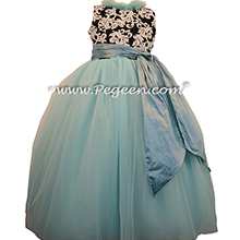 Flower Girl Dresses in Tiffany Blue Custom Tulle Black and White Damask