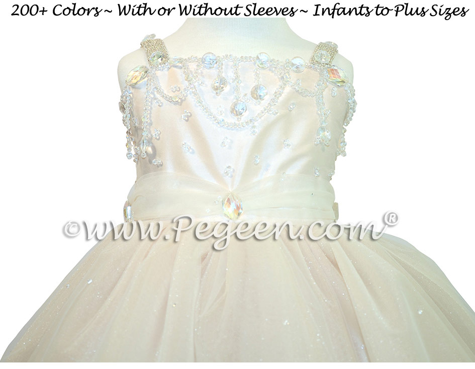 Silk Flower Girl Dress, Swarovski Crystals, Beaded Tulle, Champagne (nude)