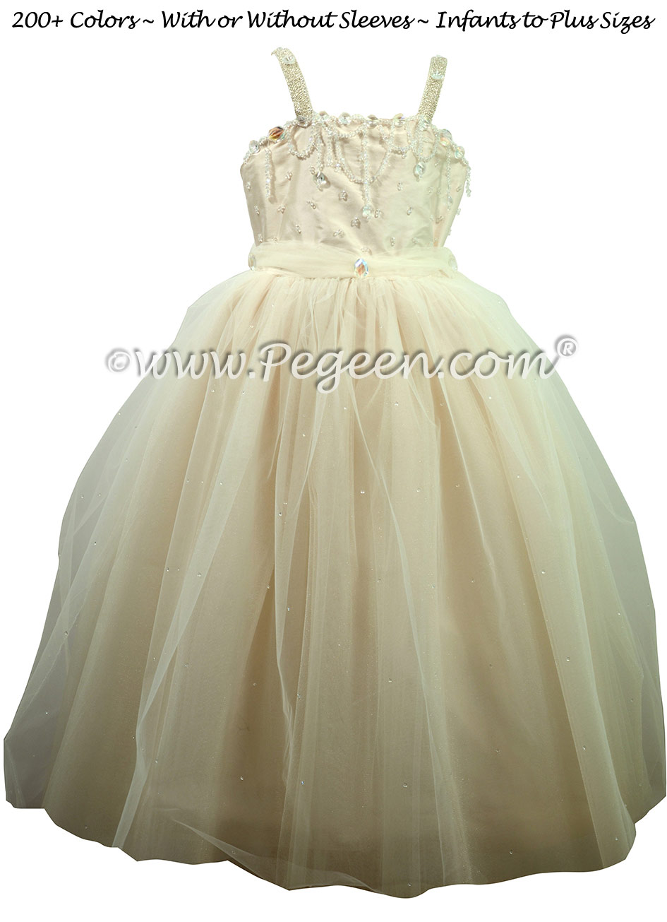 Champagne (nude) Silk and Tulle Silk Style 904 Flower Girl Dresses
