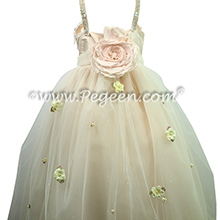 Swarovski Crystals, Beaded Tulle and Silk Flower Girl Dresses Champagne (nude) with Crystals