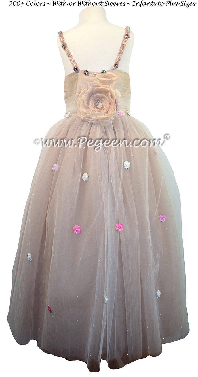 Flower Girl Dress with Swarovski Crystals for wedding in Saudi Arabia | Pegeen