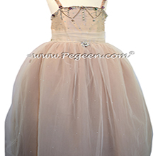 Swarovski Crystals, Beaded Tulle and Silk Flower Girl Dresses in Toffee with Crystals