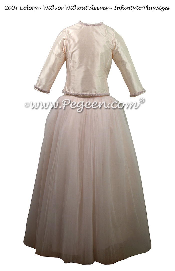 Petal Pink and Champagne -- Tulle 2 Piece Jr. Bridesmaids Dress | Pegeen