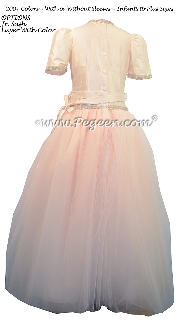 Custom Tulle Jr. Bridesmaids Dress Champagne Pink and Champagne | Pegeen