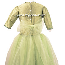 Sage Green tulle with Bisque Custom Tulle ballerina style Jr. Bridesmaids Dress from Pegeen Couture