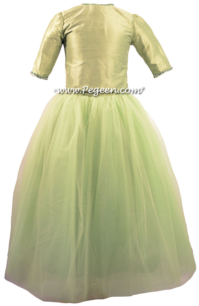 Sage Green Silk and Tulle ballerina style Jr. Bridesmaids DRESSES with layers and layers of tulle