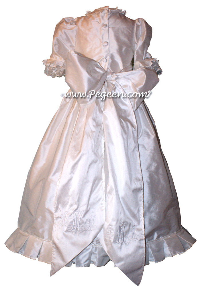 Antique White silk First Communion style dresses with Gore Skirt and Lace Trim