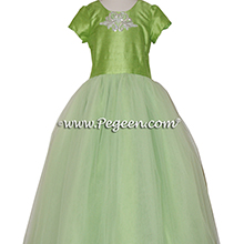 Apple Green Jr. Bridesmaids or Cotillion Dress with Rhinestone Trim ballerina style Flower Girl Dresses with layers and layers of tulle