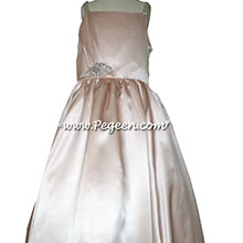Jr. Bridesmaids Dress w/Tulle, Pearled Silk Trellis, Swarovski Crystals