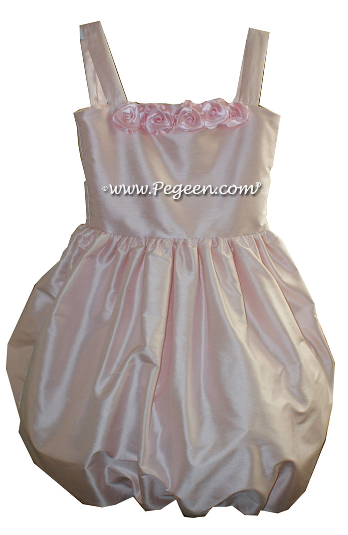 Custom Peony pink silk Jr Bridesmaids Dresses with Bubble Skirt