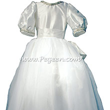 White Organza and Silk First Communion Dress or Cotillion Dress with Rhinestone and Pearl Trim
