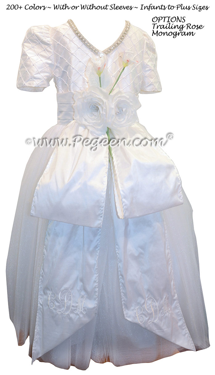Cotillion or Couture Jr. Bridesmaids Dress w/Tulle, Pintucks and Pearled Silk Trellis, Pearls and Rhinestone Trim
