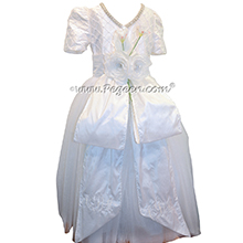 White Silk First Communion Dress or Cotillion Dress with Rhinestone Trim and Cinderella Bow with Trailing Roses and Monogramming