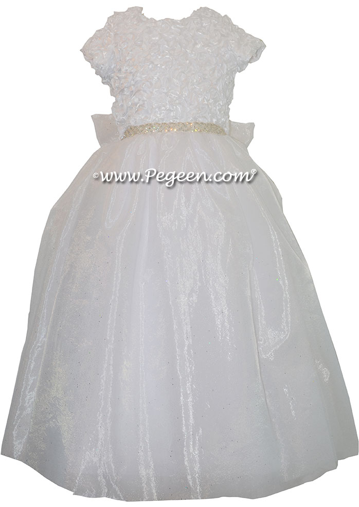 Cotillion or Couture First Communion Dress w/Ribbon Bodice and Rhinestone and Organza