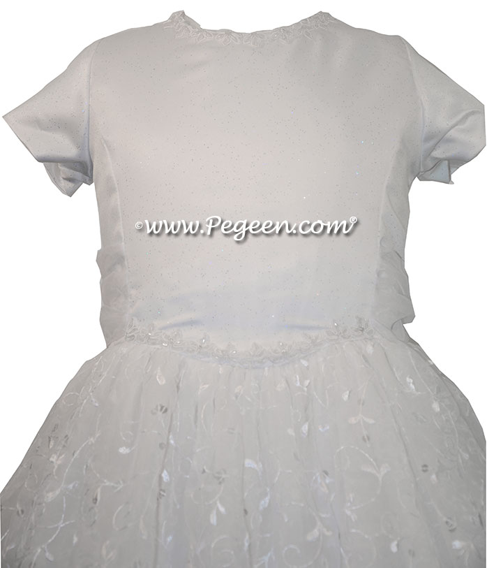 Cotillion or Couture First Communion Dress w/Organza Embroidery, Sequins, Satin Bodice and tiny sequined trim