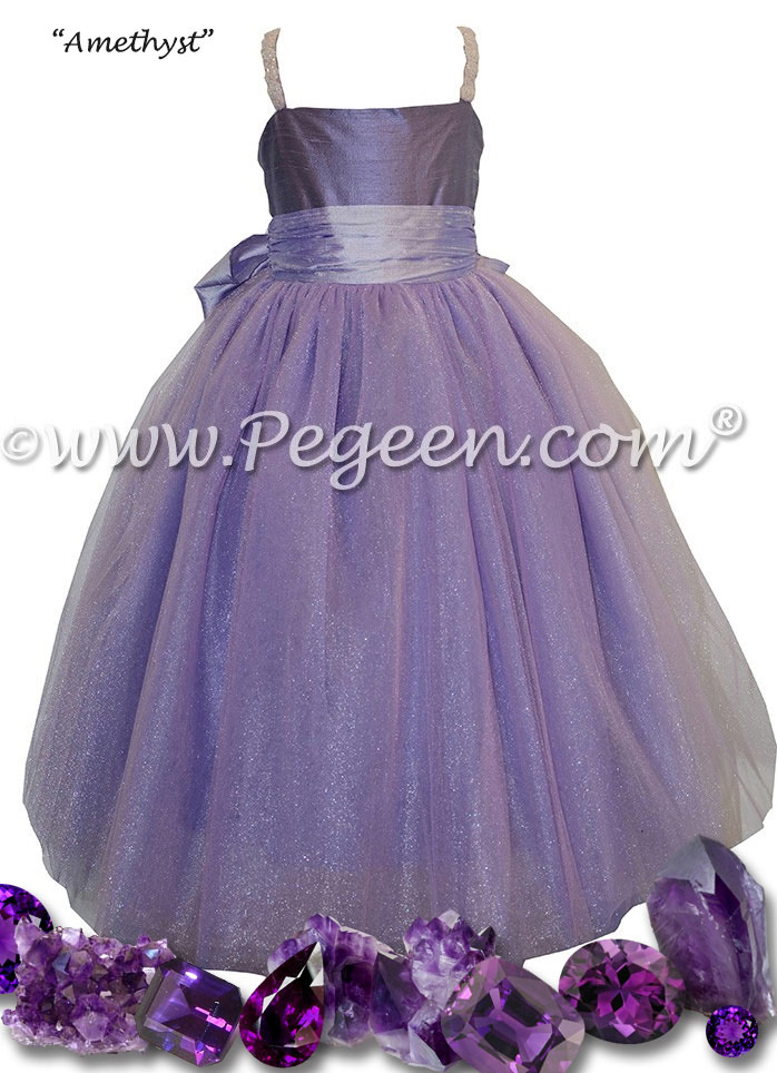 Lilac and Periwinkle ballerina  style with Pegeen Signature Bustle with layers and layers of tulle